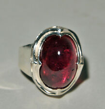Rubelite Tourmaline 19.6ct Gemstone Cabochon Handcrafted Sterling Silver Ring
