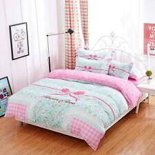 Sweet Floral Aqua Pink Double Sided Bow Tie Ribbon  Bed Set Print