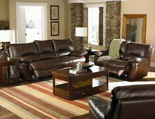 Brown Leather Match Double Reclining Sofa Loveseat 2Pc Sofa Set Living Room Home