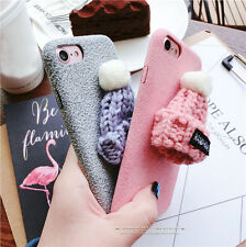 3D Woollen Hat Soft TPU Silicone Matte Back Case Cover For iPhone 6 6s 7 7 Plus
