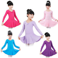 Girls Gymnastics Ballet Dress Kids Long Sleeve Leotard Tutu Dance Wear Costume