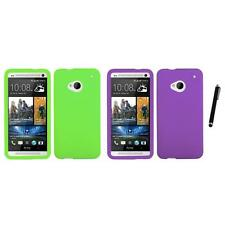 For HTC One M7 Silicone Skin Rubber Soft Case Phone Cover Stylus Pen