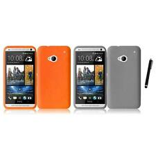 For HTC One M7 Silicone Skin Soft Rubber Case Phone Cover Stylus Pen