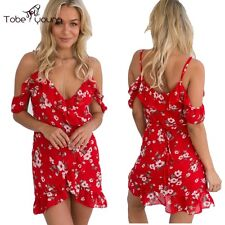 Sexy Cut Out Shoulder V Neck Ruffled VTG Floral Red Tulip Tunic Party Club Dress
