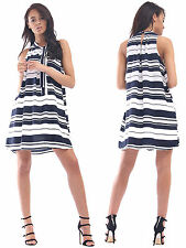 Womens Ladies Striped Print Sleeveless Tie Neck Mini Shift Dress Size UK 8-14
