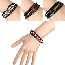1Pcs Wristband  Interlaced  Black  Mens  Leather  Bangle  Cuff  Bracelet