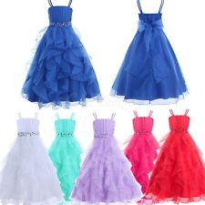 Flower Girl Rhinestones Princess Wedding Bridesmaid Birthday Party Ruffles Dress