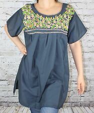 NAVY BLUE PEASANT PUEBLA SILK EMBROIDERED MEXICAN BLOUSE TOP SMALL