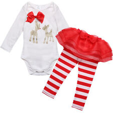 Baby Girls Christmas Outfit Deer Cotton Romper with Striped Tutu Legging Pants