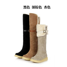 Womens Boots Girls Knee High Shoes Ladies Fur Lined Winter Snow Ankle Boots