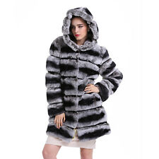 Fashion 100% Real Genuine Rabbit Fur Jacket Coat With Hat Outwear Coat C0021