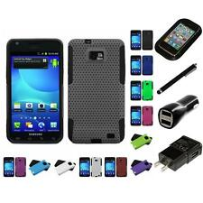For Samsung Galaxy S2 i9100 Hybrid Rugged Impact Hard Soft Case Cover Charger