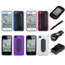 For Apple iPhone 4/4S Hybrid Toungue Kickstand Impact Case Cover Charger Stylus