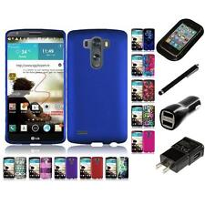 For LG G3 Rubberized Matte Snap-On Hard Case Phone Cover Charger Stylus