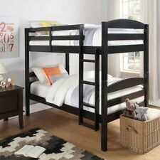 Space-Saving Twin Over Twin Wood Bunk Bed for Kids/Small Bedrooms, with Sturdy 4