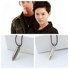 Military Fashion Army Alloy Bullet Pendant Leather Chain Necklace