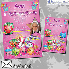 Shopkins Invites Personalised Children's Birthday Party Invitations x 5