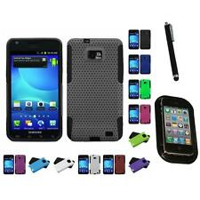 For Samsung Galaxy S2 i9100 Hybrid Rugged Impact Hard Soft Case Cover Mount+Pen