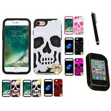 For Apple iPhone 7 [4.7] Hybrid Skull Skeleton Impact Hard Soft Case Mount+Pen