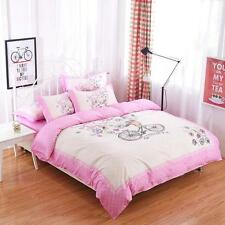 Comfortable Floral Pink Design With An Bicycle Print Single/Queen/King Bed Set