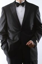 MENS TWO BUTTON 100% WOOL BLACK TUXEDOS, SML-T40212C-BLK