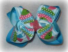 Sparkle Blue Fish Boutique Double Layer Hair Bow Glitter Aqua Hairbow Ocean Sea