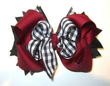 Maroon Black and White Checked Boutique Hair Bow Loops Spikes Funky Hairbow Bows