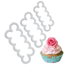 3Pcs/Set Plastic Rose Flower Cutter Mold Gumpaste Fondant Cake Decorating Moulds