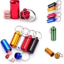 Waterproof Mini Aluminum Pill Box Case Bottle Holder Container Keychain Keyring
