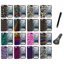 Zebra Polka Dot Hard Design Case Cover+Charger+Pen for iPod Touch 5th Gen 5G