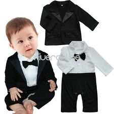 2pcs Newborn Baby Boy Formal Party Suit Gentleman Romper Coat Outfits Clothes