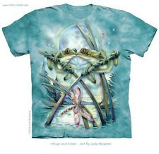 Moonlight Frog Lovers T-Shirt /Unisex,Aqua Tie Dye,Jody Bergsma-Frogs and Kisses