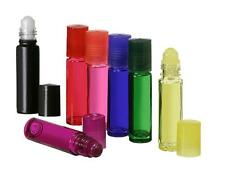 1/3 oz.Glass Roll-On Bottles Vials 10 ml. w/ caps and inserts YOU PICK COLOR