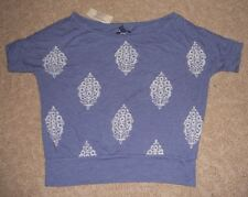 NWT AMERICAN EAGLE Blue Print Boatneck Cropped T-Shirt