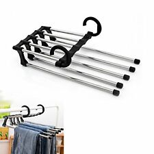 Retractable 5 in 1 Stainless Steel Clothes Pants Trousers Jeans Organizer Hanger
