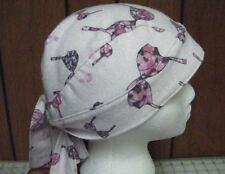 Pink Ribbon /Bra's with Scroll Print/ White Flannel Breast Cancer Do Rag