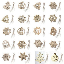 10pcs Wooden Christmas Tree Decorations Decoupage Craft Hanging Snowflake Deer