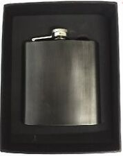 Personalised Black Stainless Steel 6oz Hip Flask & Satin Lined Gift Box