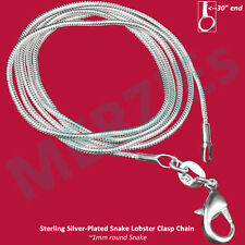 "MERZIEs silver plate PICK SIZE 16-30"" snake chain lobster clasp 1mm necklace"