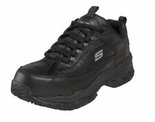 76760 Black Skechers Shoes Work Safety Men Soft Leather Slip Resistant Steel Toe