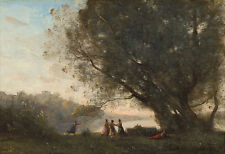"""Camille Corot : """"Dance under the Trees at the Edge of the Lake"""" — Fine Art Print"""