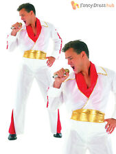 Adults Rock Star Costume Mens Elvis Fancy Dress 50s Rock Star Stag Party Outfit