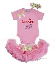 Baby Light Pink Pettiskirt Valentine's Day Kisses 25 Cents Pink Bodysuit Outfit