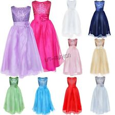 Sequined Flower Girl Dress Wedding Bridesmaid Prom Ball Gown Pageant Birthday