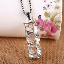 Necklace  cylinder  Long chain Hollow  Fashion  Three zircons Pendant  Crystal