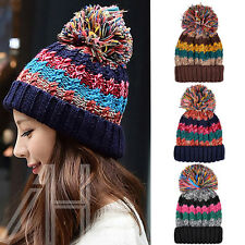 Winter Cable Knit Beanie Chunky Warm Woolly Bobble Ski Hat Mens Womens Ladies