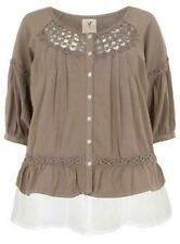 Ladies Plus Size Taupe Ruffle Hem 2 Layer Blouse - 20 & 26