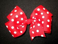 Sweet Boutique Hair Bow 5 inch Large Big Girls Hairbows Classic Red Polka Dots