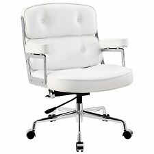 Remix Adjustable Swivel Aluminum Frame Vinyl Highback Chair in White