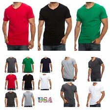1-3-6 PACK Men's T-Shirt Lot Crew Neck  V-Neck Fashion Tee Casual Slim Fit Tee